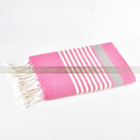 fouta arthur diamant rose gris 1 artisanatex craft textiles