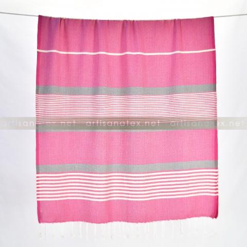 fouta arthur diamant rose gris 2 artisanatex craft textiles