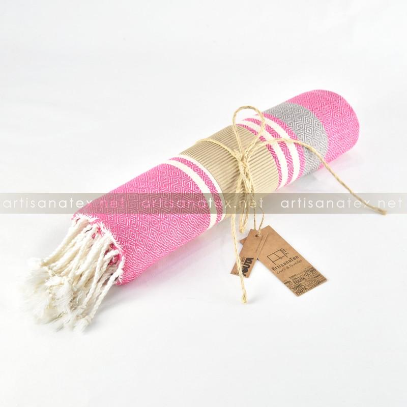 fouta arthur diamant rose gris 0 artisanatex craft textiles