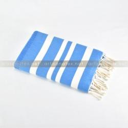 Fouta plat Nid D'abeille Blue 0 artisanatex tunisie plage