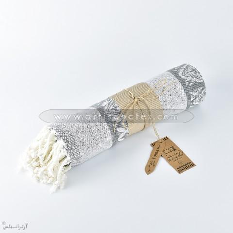 f0446 fouta mosaique jacquard gris foncee artisanatex tunisie