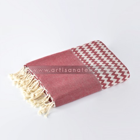 jetée zigzag throw plaid artisanatex n0510 rouge