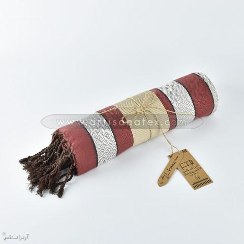 fouta rubis f0505 rouge gris chaine noir artisanatex tunisie