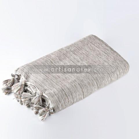 jeté kalina j1207 velours ponpon gris foncee artisanatex