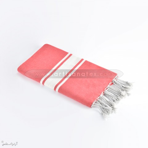 fouta classique plat rouge bande artisanatex