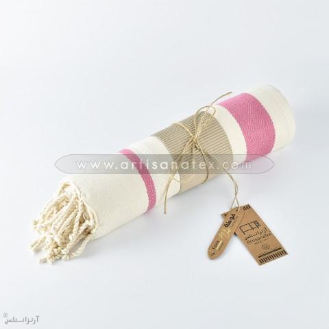 F0612 fouta horra handmade rose ecru artisanatex