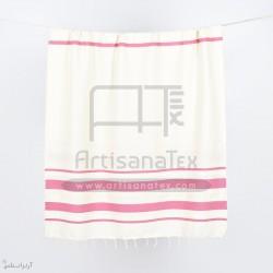 F0612 fouta horra handmade pink ecru artisanatex