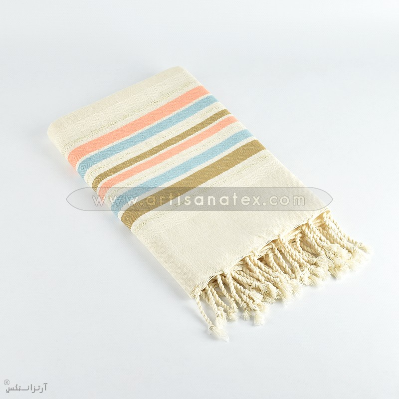 fouta grenadine bronze ecru orange marron artisatanex f0608