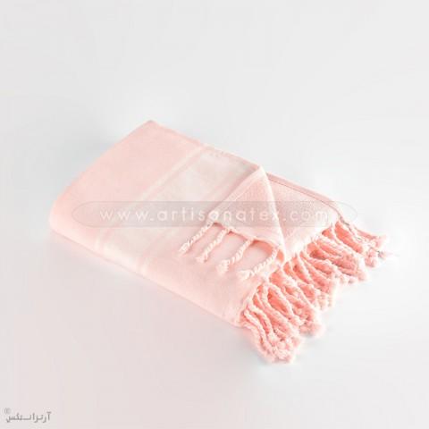 f0706 fouta eponge rose bande blanc artisanatex tissage
